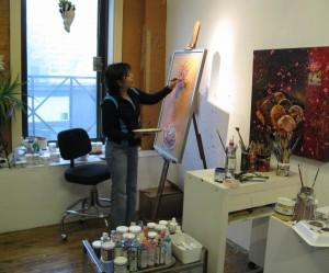 Frances Ferdinands Working in her Studio.